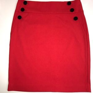 Ann Taylor Loft Red military style pencil skirt